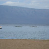 Outrigger canoes.