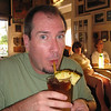 Bruce having a happy hour Mai-Tai while watching USC vs. Cal game on TV.