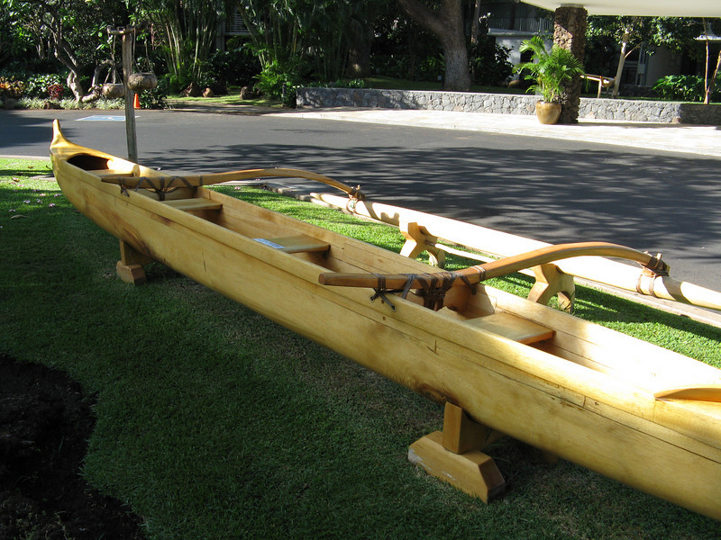 Hawaiian outrigger canoe in front of our hotel.