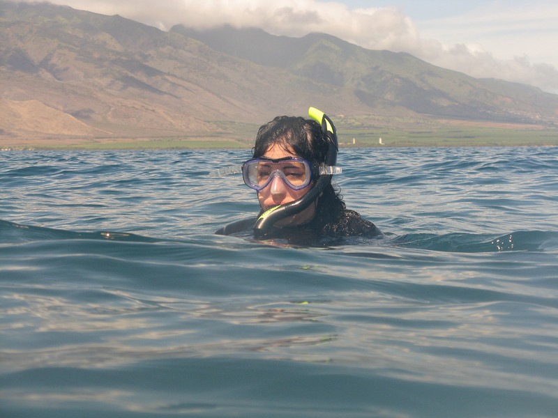 Christine snorkled while we dove.