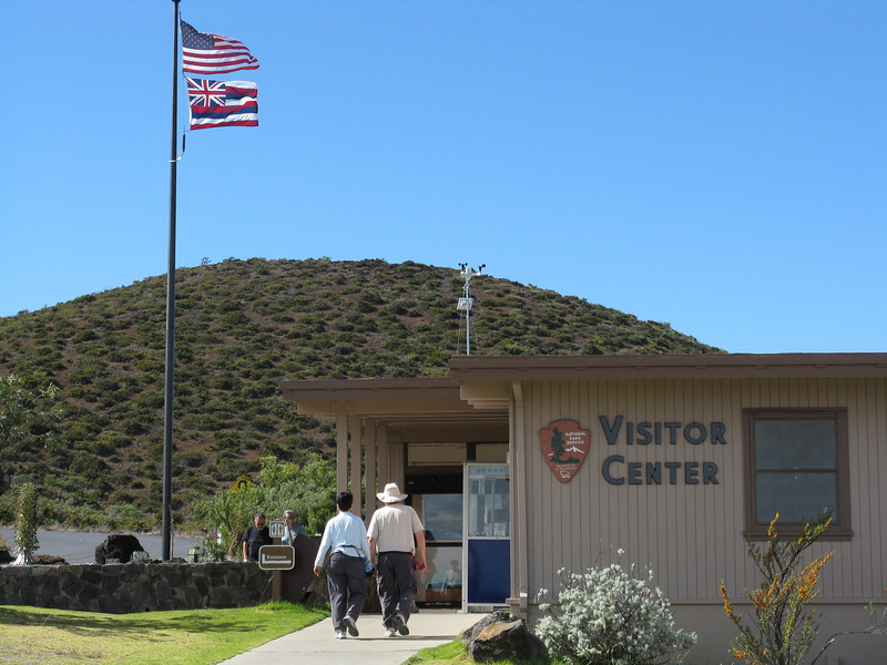 Visitor Center flying the flags.