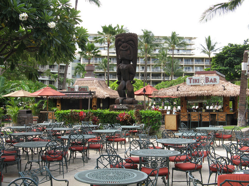 The Tiki Bar and Grill in the hotel courtyard.