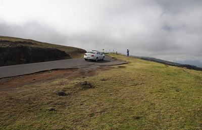 Mike climbs Maui's Haleakala on a bicycle.