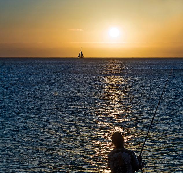 Sunset fisherman.