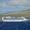 A cruise ship anchored off the coast of Maui, Hawaii.