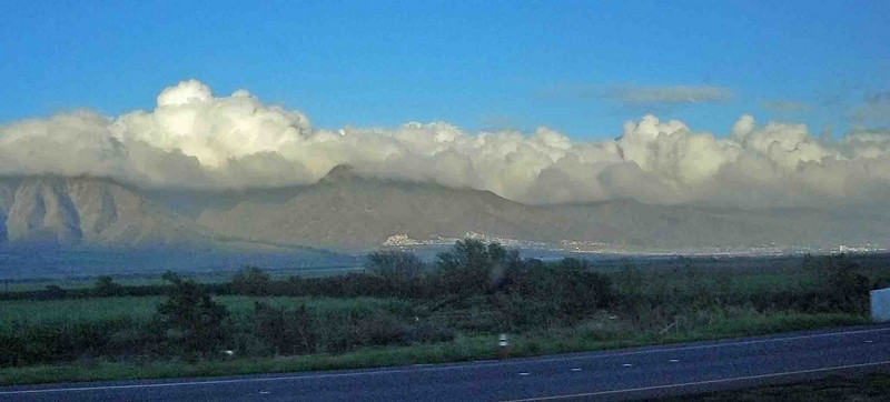 Morning clouds over Maui as we leave on our Road to Hana trip.