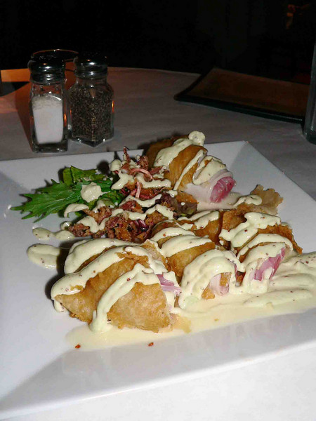 This was an incredible appetizer! Ahi tuna stuffed into calamari then tempuraed and served with a wasabi aioli and ginger butter!!! YUMM!