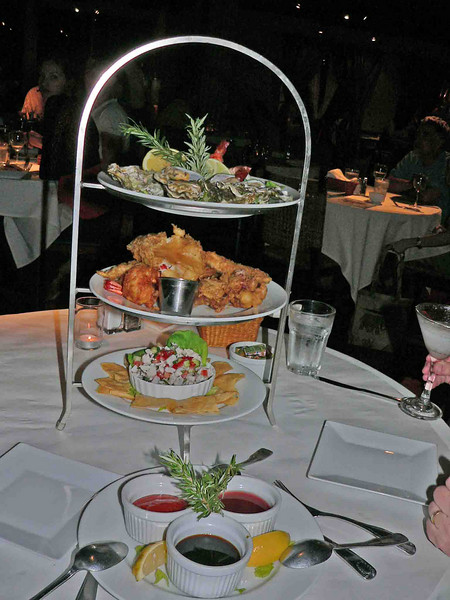 Seafood tower...top was oysters, mussels and shrimp. middle was tempura and the bottom was a very nice ceviche. After the appetizers we were so full most of this went home and was leftovers the next night. The tower was only $36....great deal.
