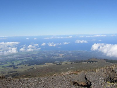 The west side of Haleakala leading down to the coast below.