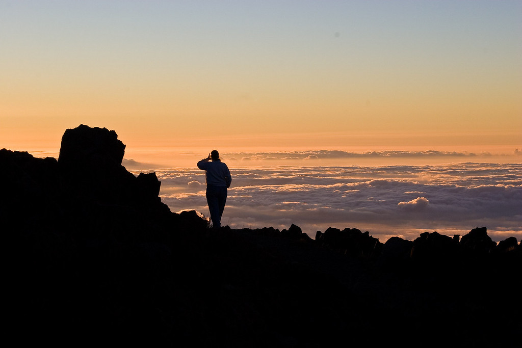 Carolyn at sunset, Maui crater, Jan 09,2008