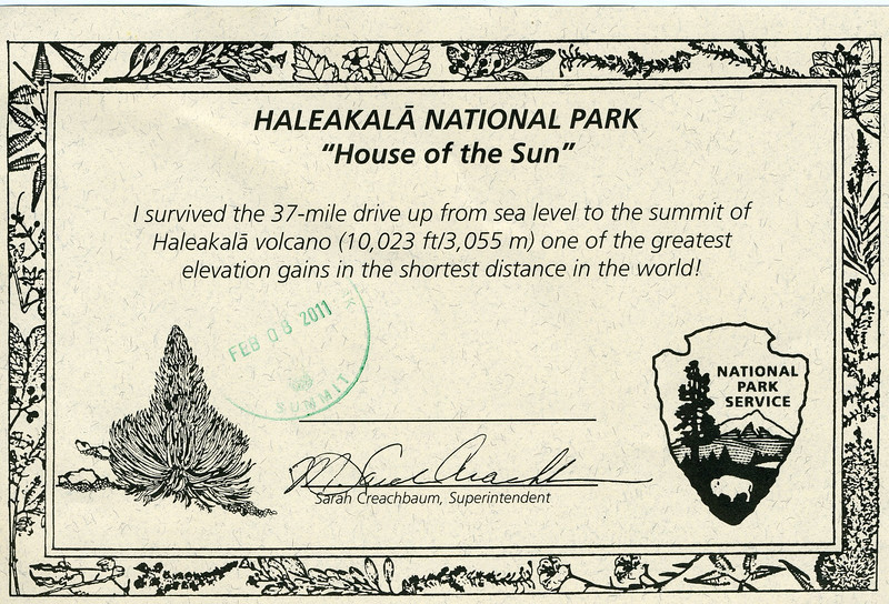 Our certificate for making it to the top of the volcano!