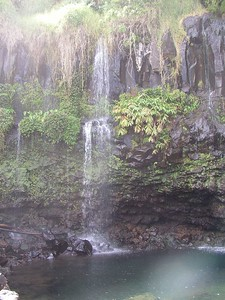 The smaller, left side of Helele'ike'oha Falls and Blue Pool.