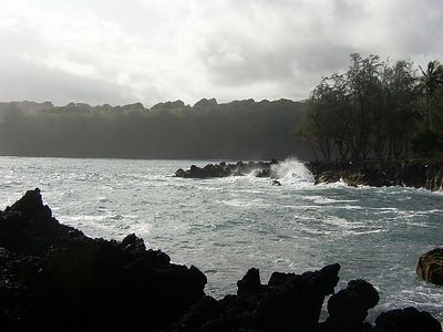The lava strewn shoreline of the Ke'anae Peninsula makes for some dramatic waves.