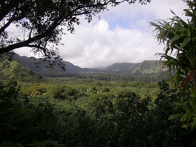 View of Ko'olau Gap with clouds rolling off Haleakala.