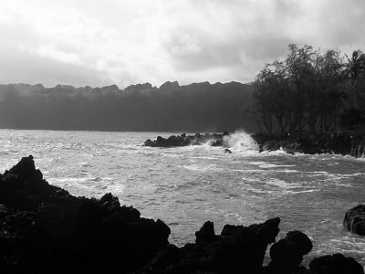 Ke'anae Peninsula in black and white.