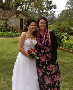 Brandi Beasley Willis with her Matron of Honor.  And look, I got lei'd too!
