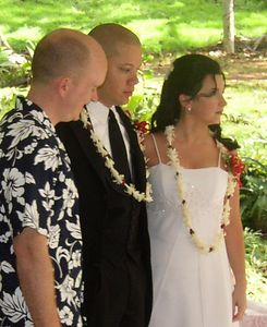 Brandi and Heath exchanged leis as a symbol of their wedding vows.  Nice, but not very permanant (which is why we all insisted on the rings).  Heath got a nice big 'un.