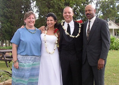 This is Brandi and Heath with his parents - post wedding.