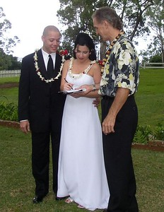 This is Brandi and Heath with Bob, the officiant.  Bob is a Minister of Something.  Yep, that's what I said.