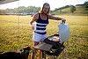 Cindy Grilling some Pizzas in ARkansas