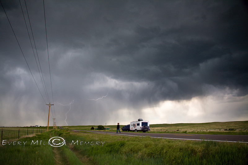 Lightening & Wind - Hoping not to get blown away while sitting out a storm on the side of the road in Colorado