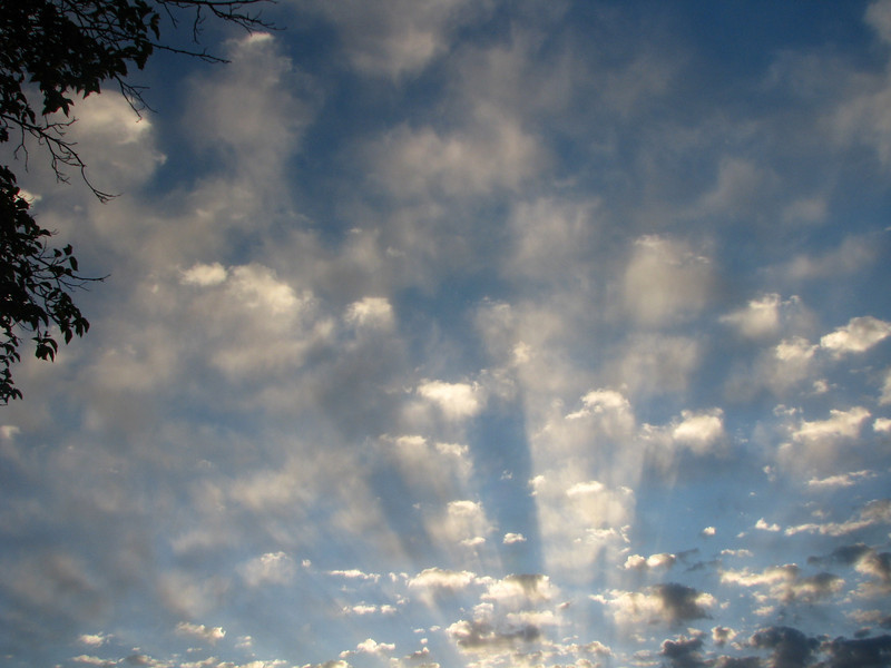 From our site I could see streaks of light blasting through the morning clouds.
