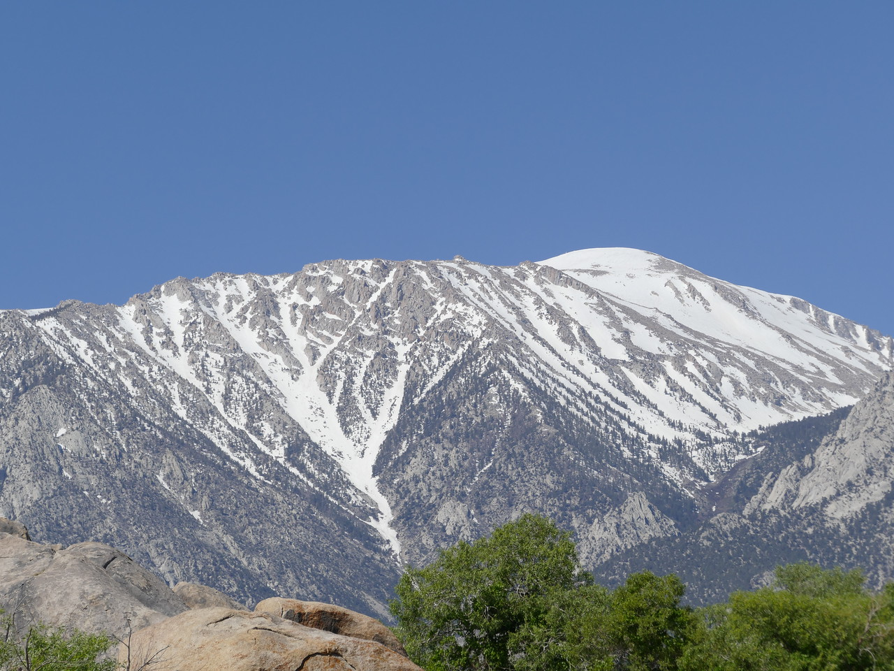 Beyond the Alabama Hills,  we could see snow on the line of Sierra peaks.