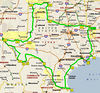"Here's the RAT route that everybody had to ride. When I was in the Navy and had to move every few years, it always seemed like we'd never make it out of Texas. I'll never complain again about a ""short"" ride across the state."