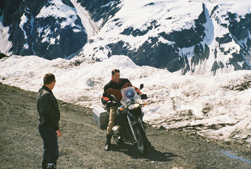 Legal Speeding honcho gets ready to blast through the snow slide as Ron Ayers South African tour leader provides support.