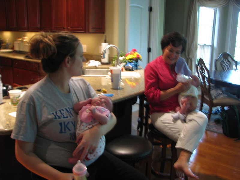 My first sght of my new grandbabies, Dana is holding Presley and Shirley (mother in law) is holding Cylas.