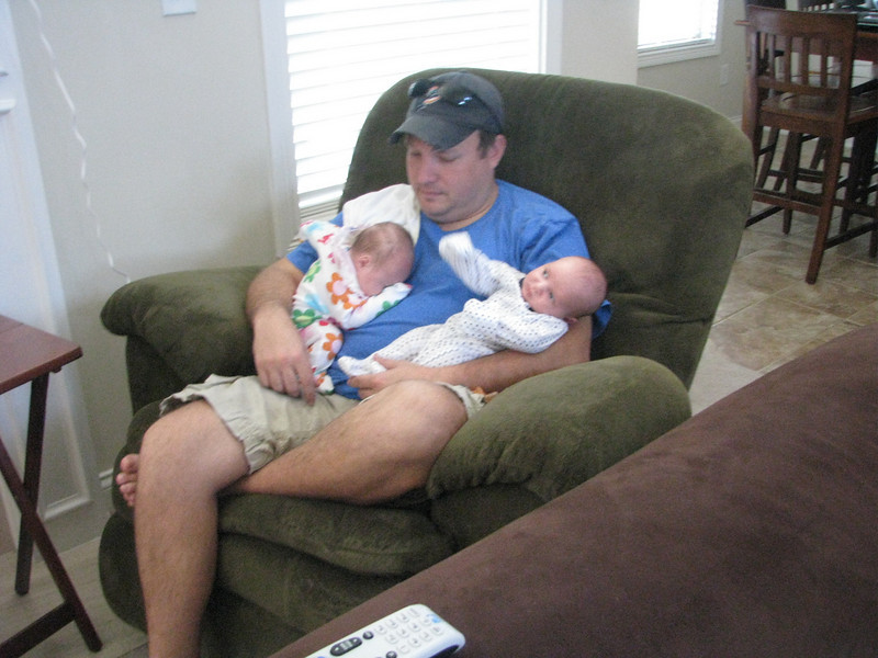May 12,2009<br /> My son in law doing his fatherly duty. Their lives for now revolve around these two miracles. Ed is a great father and a good husband to Dana.