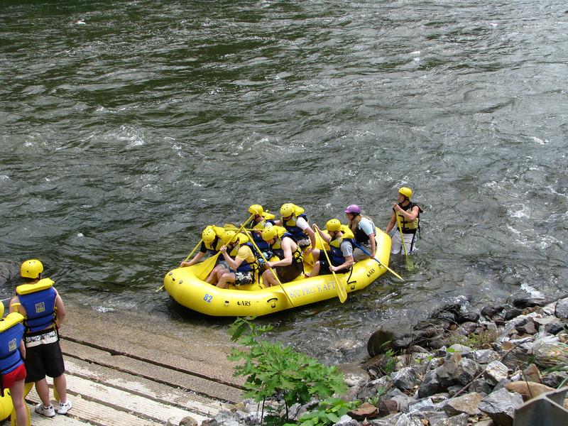 Raftering crew lanching away to high adventure.