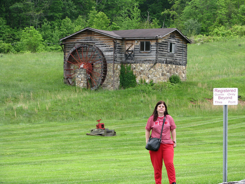 My Julie posing in front of this mill by the welcome center. No one could tell me if mill was a real one or a replica.