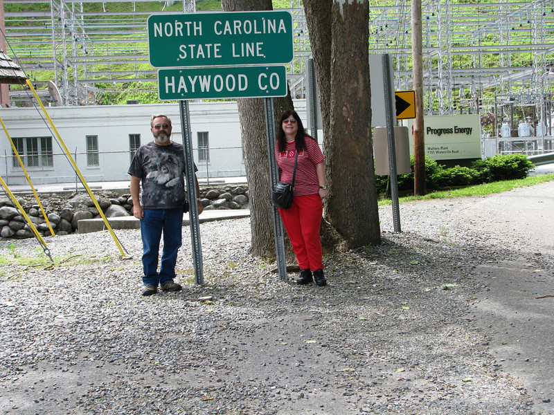 Standing in two states, Tenessee and North Carolina.