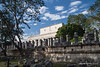 Yucatan-9605<br /> The Thousand Columns, at Chichen Itza, was a 73,818 sq foot enclosure with the roof being held by these columns. On the columns 2,211 men walking are represented marking a processional route moving towards the steps of the Temple of the Warriors.