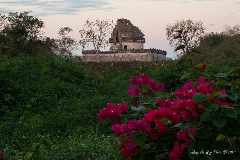 Yucatan-9647<br /> The observatory, in Chichen Itza, is believed to have been used to make astronomical observations. Including the base it is 73 feet high, with the base being 219 feet by 170 feet.
