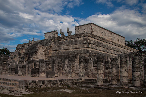 Yucatan-9599<br /> The Temple of Warriors, at Chichen Itza, has four stepped sections and friezes with jaguars, eagles and a mythical animal eating hearts. The inside of the temple on top has two rooms with three vaulted ceilings with 12 pillars sculpted with warriors on all four sides.