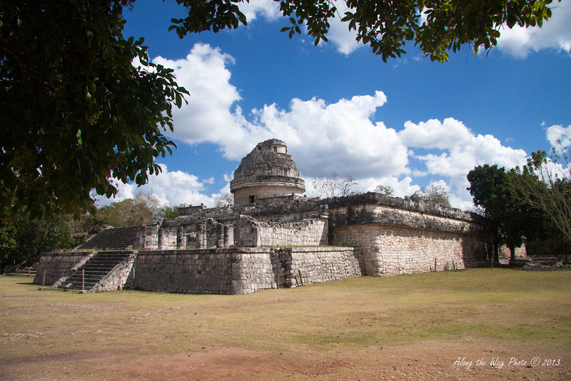 Yucatan-9752<br /> The observatory, in Chichen Itza, is believed to have been used to make astronomical observations. Including the base it is 73 feet high, with the base being 219 feet by 170 feet.