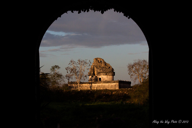 Yucatan-9664<br /> The observatory, in Chichen Itza, is believed to have been used to make astronomical observations. Including the base it is 73 feet high, with the base being 219 feet by 170 feet.