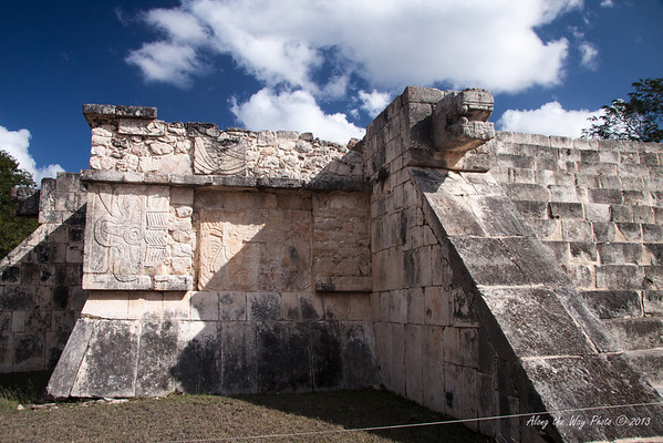 Yucatan-9719<br /> The Platform of Venus, at Chichen Itza, lies north of the Temple of Kukulkan and is similar to the platform of the Eagles, but with a larger base. The panels show reliefs of a bundle joined to a half flower as a symbol of Venus.