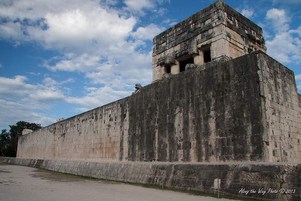 Yucatan-9617<br /> The Ball Court, at Chichen Itza, is the largest ball court in the Mayan World. The court is 551 feet long and 229 feet wide. The platforms are 311 feet long and 26 feet high with two low banked footways. The ball court had important religious and astronomic significance in the Mayan World