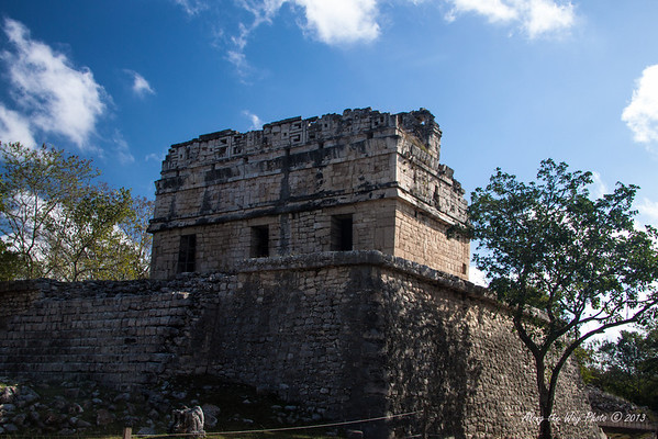 Yucatan-9704<br /> The House of the Deer, in Chichen Itza, has plain walls and simple moldings. It is called House of the Deer because of a painting of a deer on it, which has since been lost.