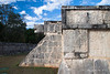 Yucatan-9615<br /> The Platform of the Eagles and the Jaguars, in Chichen Itza, is a small square base with steps on all four sides. The walls have low slopes and boards decorated with eagles and Jaguars eating human hearts