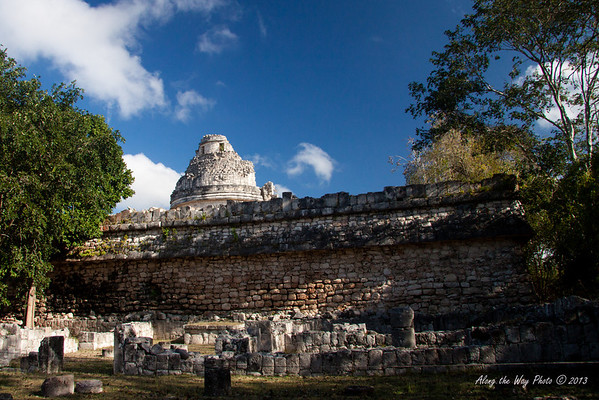 Yucatan-9697<br /> The observatory, in Chichen Itza, is believed to have been used to make astronomical observations. Including the base it is 73 feet high, with the base being 219 feet by 170 feet.