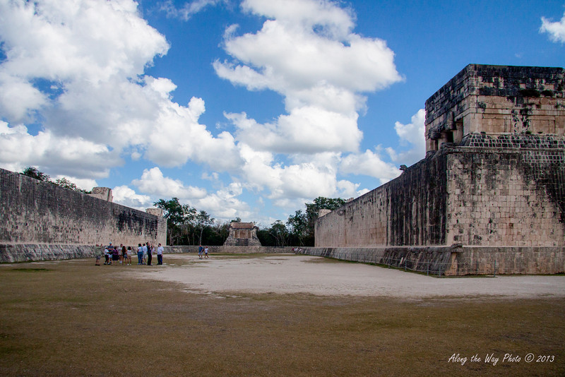 Yucatan-9745<br /> The Ball Court, at Chichen Itza, is the largest ball court in the Mayan World. The Court is 551 feet long and 229 feet wide. The platforms are 311 feet long and 26 feet high with two low banked footways. The ball court had important religious and astronomic significance in the Mayan World.