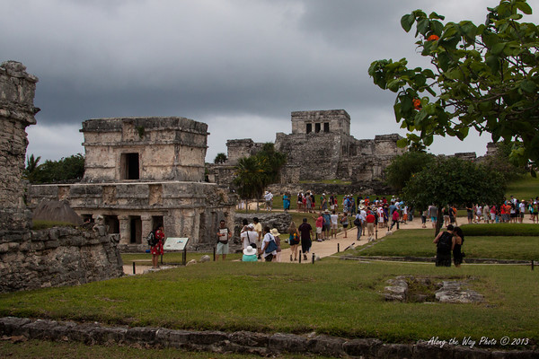 Yucatan-9836<br /> Tulum is one of the last Mayan cities inhabited and was built on the east coast of the Yucatan Peninsula. Tulum has 16 foot high walls, 26 feet thick, on three sides with a 39 foot cliff on the fourth side. There are five narrow gateways in the wall. Tulum is Mayan for Fence or Wall.