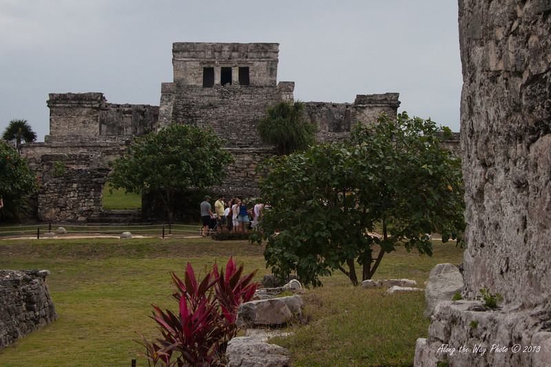 Yucatan-9798<br /> 25 feet high Pyramid El Castillo, The Castle, in Tulum, is built on a previous building with the construction taking place in stages. A small shrine was used as a type of light house to bring in trading canoes through the barrier reef.