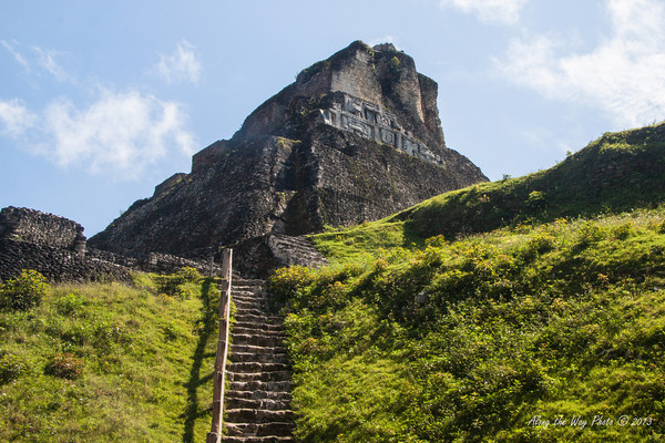 Belize-51-2<br /> El Castilo Temple, in Xunantunich, is the second highest building in Belize at 130 feet. The temple is known for its Frieze, a banded stucco decoration that use to go around the entire site.
