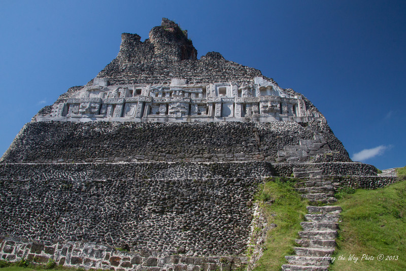 Belize-27-2<br /> El Castilo Temple, in Xunantunich, is the second highest building in Belize at 130 feet. The temple is known for its Frieze, a banded stucco decoration that use to go around the entire site.