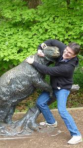Mike wrestling a bear.
